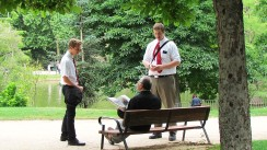 Talking to people in the park by the CCM
