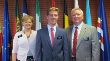 """""""You already know, Elder Simple."""" With President and Sister Lovell"""