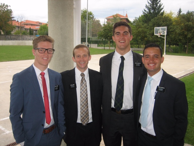 elder Turner, elder Jones, elder Sedgwick and elder Cifuentes - the might Vitoria district missionaries